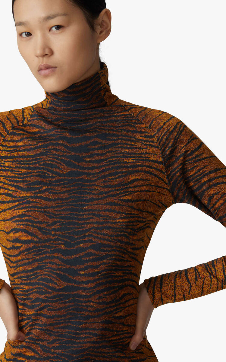 PALE KHAKI 'KENZO Tiger' top with stand-up collar for unisex