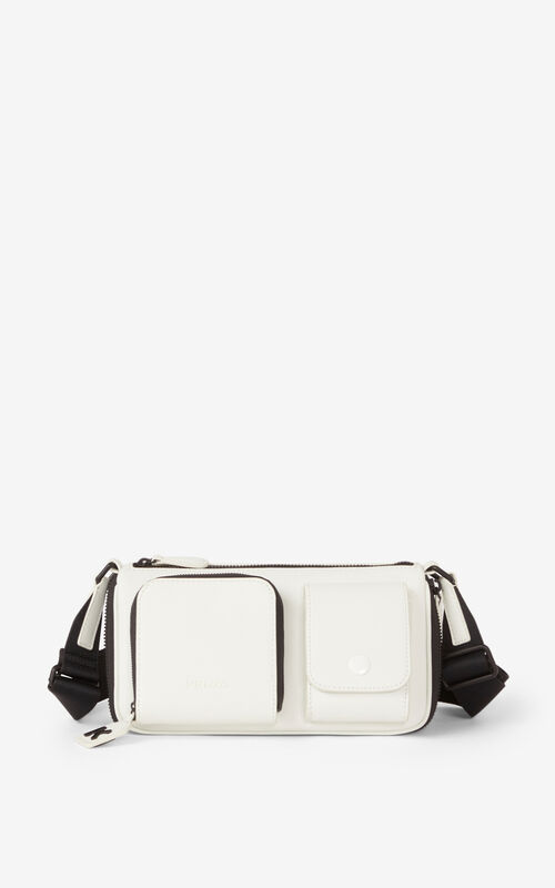 OFF WHITE Small KENZO Kompact leather shoulder bag for unisex