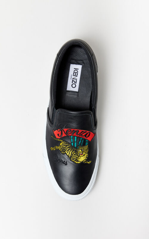 BLACK K-Skate 'Jumping Tiger' slip-on for men KENZO