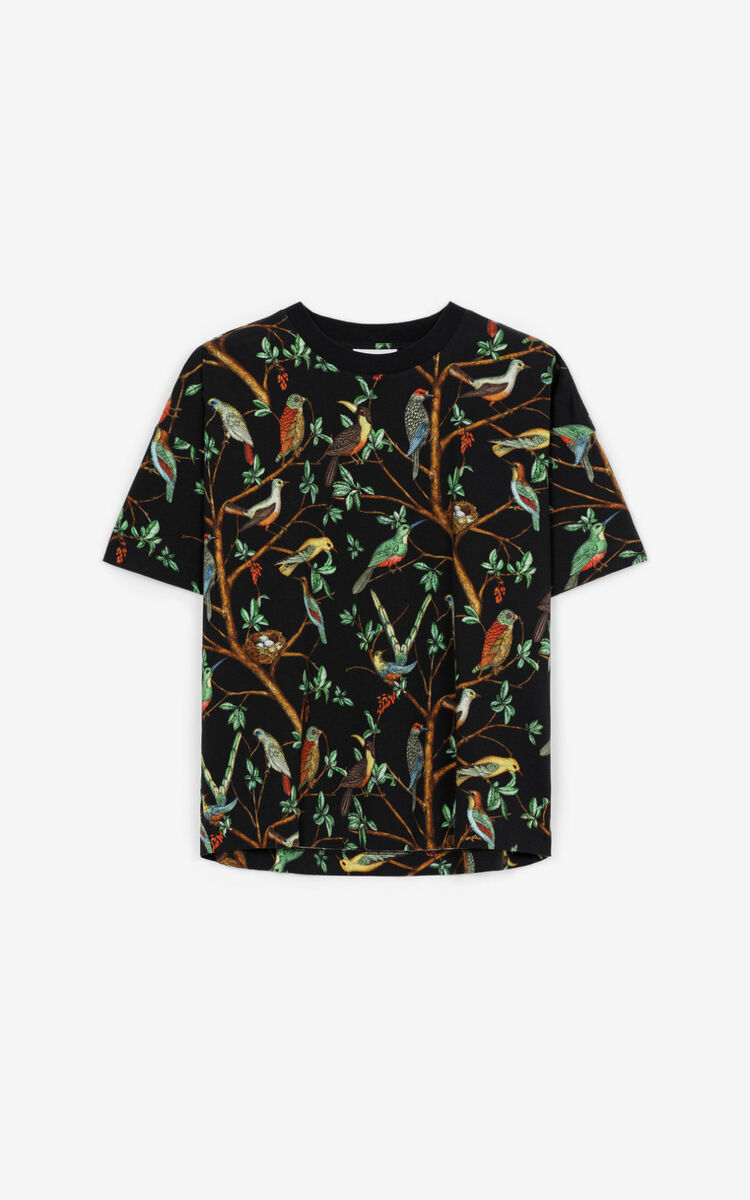 BLACK 'Tapestry of Birds' printed boxy T-shirt for women KENZO