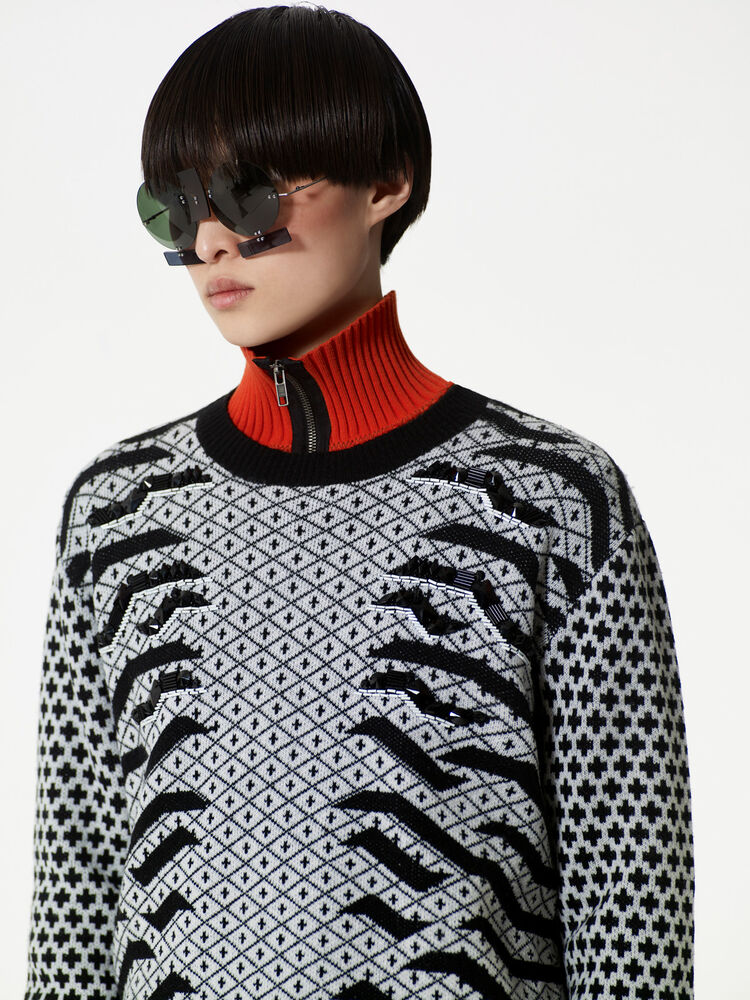'Geo Tiger' Sweater, BLACK, KENZO