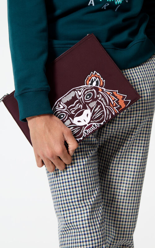 BORDEAUX Tiger clutch in neoprene for men KENZO