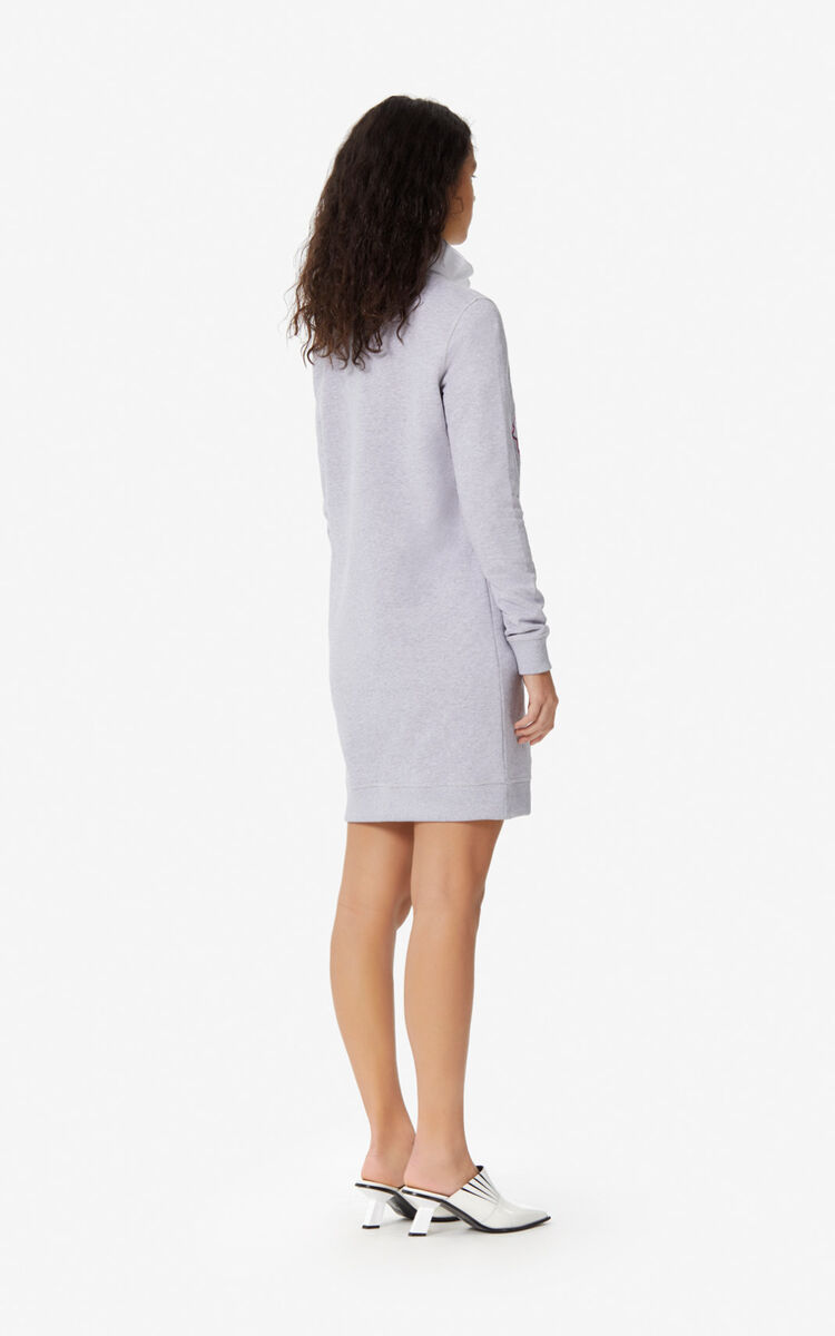 PALE GREY Tiger sweatshirt dress for women KENZO