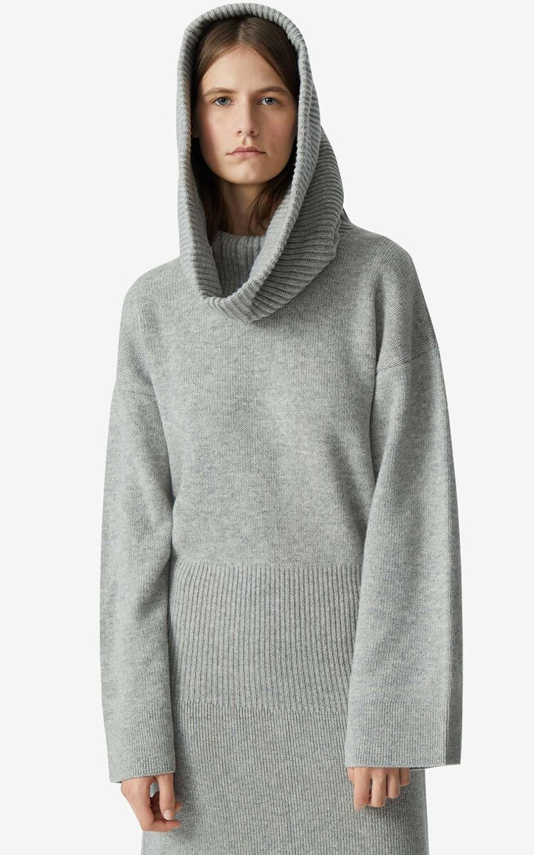 PALE GREY Long dress with oversize hood for women KENZO
