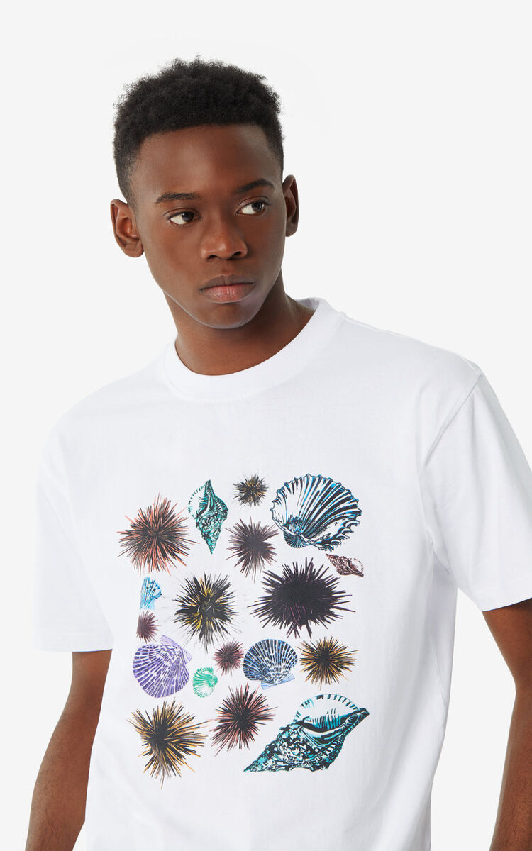 WHITE 'Seashells & Urchins' 'High Summer Capsule Collection' T-shirt for women KENZO