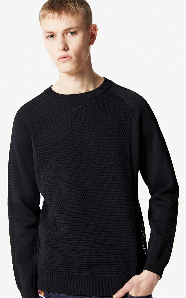BLACK Dual fabric jumper for men KENZO