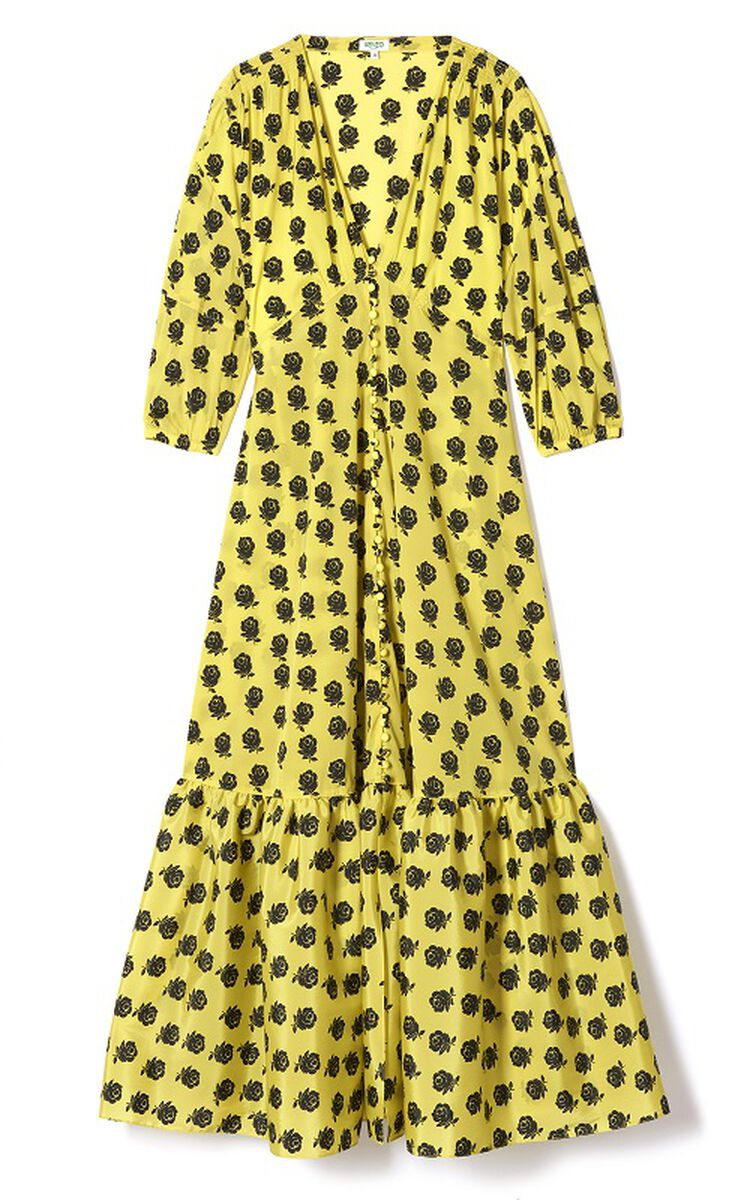 GOLDEN YELLOW Roses' long dress for women KENZO