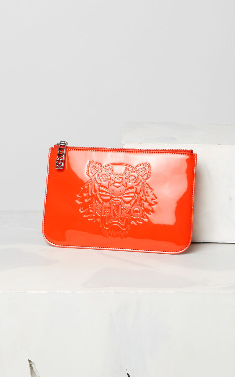 MEDIUM RED A5 patent Tiger clutch for unisex KENZO