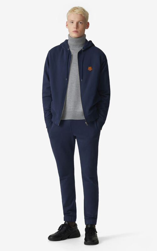 NAVY BLUE Tiger Crest zipped hooded sweatshirt for men KENZO