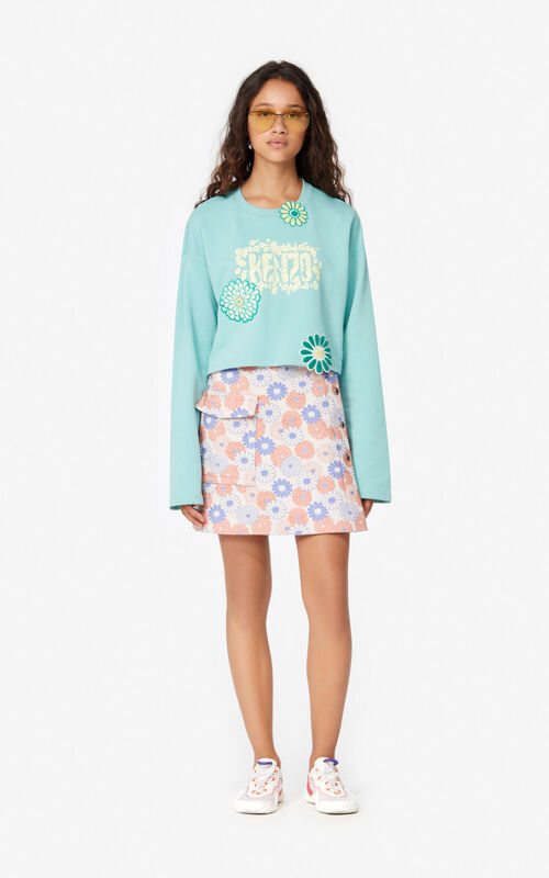 AQUA 'Flower' cropped sweatshirt  for women KENZO