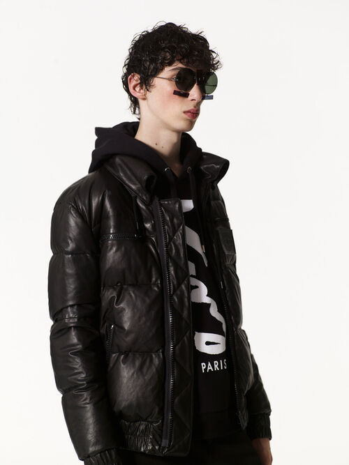 BLACK Leather puffer jacket for men KENZO