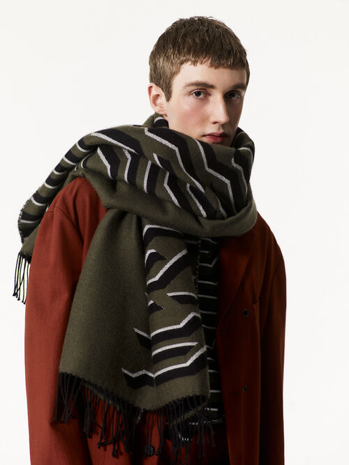 DARK KHAKI Geo Tiger Scarf for men KENZO