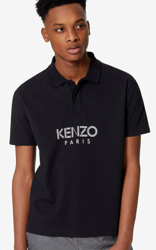 BLACK KENZO Paris polo shirt for men