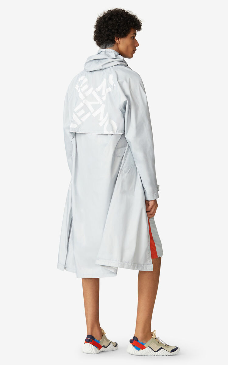 PALE GREY KENZO Sport long raincoat for women