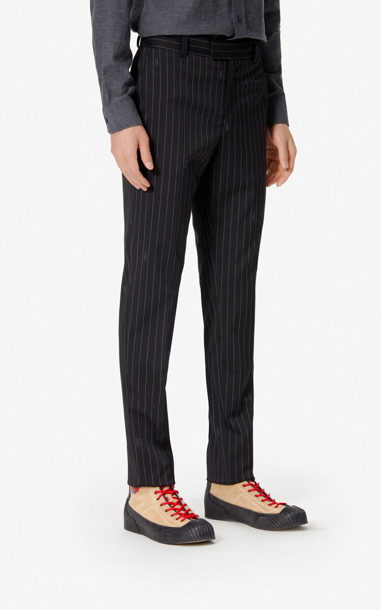 BLACK Striped suit trousers for men KENZO