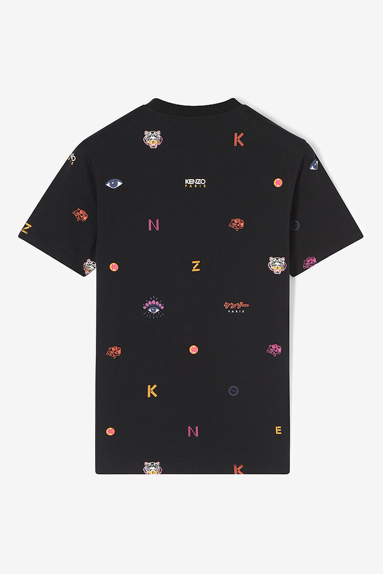 BLACK Multi Icons T-shirt for men KENZO