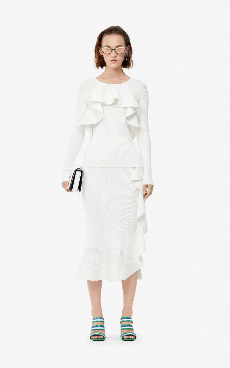 WHITE Jumper with asymmetric ruffles for women KENZO
