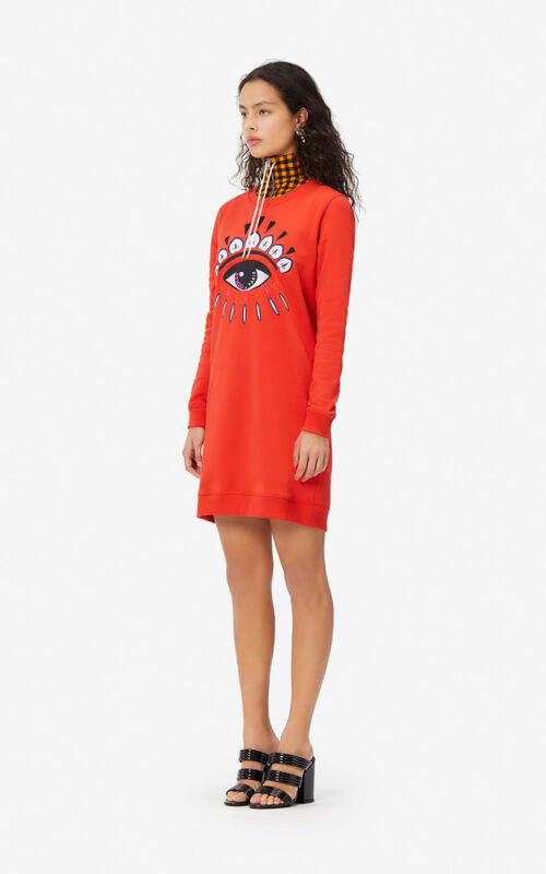 MEDIUM RED Eye sweatshirt dress for women KENZO