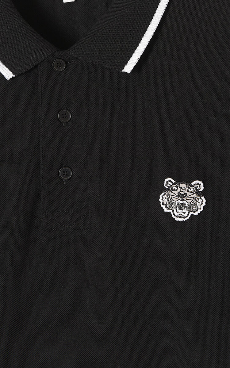BLACK Slim fit long sleeve Tiger polo shirt for women KENZO