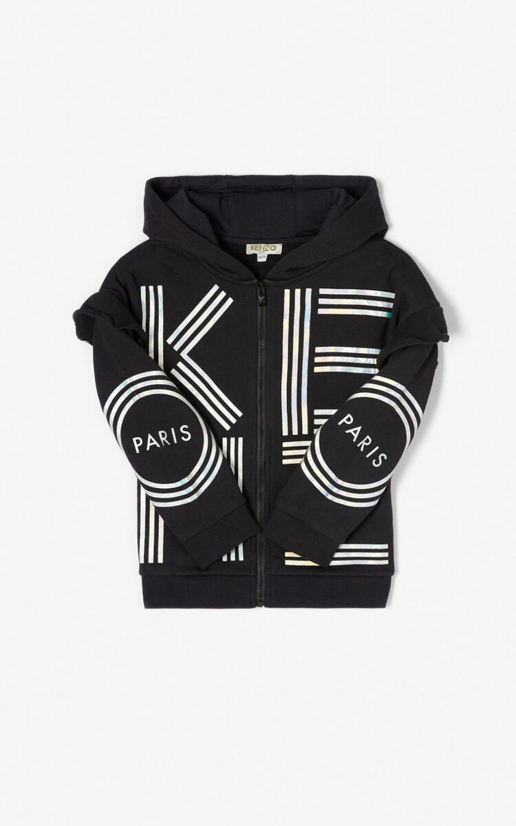 BLACK KENZO logo zipped sweatshirt  for women