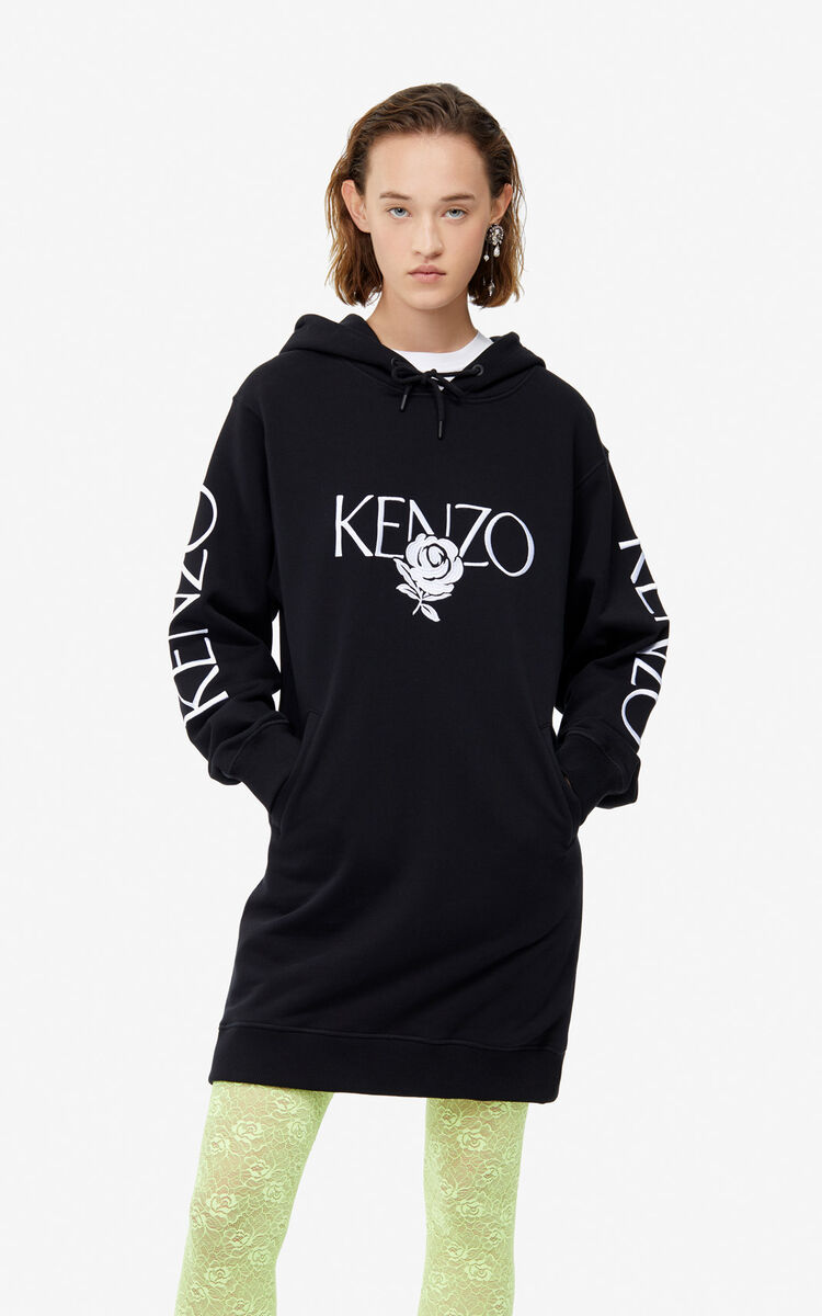 BLACK KENZO 'Roses' sweatshirt dress for women