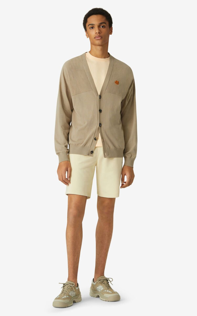 TAUPE Tiger Crest oversize cardigan for men KENZO