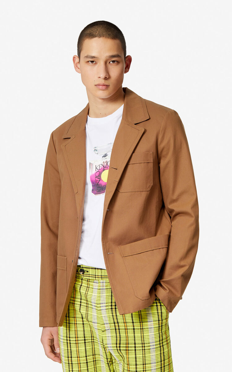 CHESTNUT Canvas pea coat for men KENZO