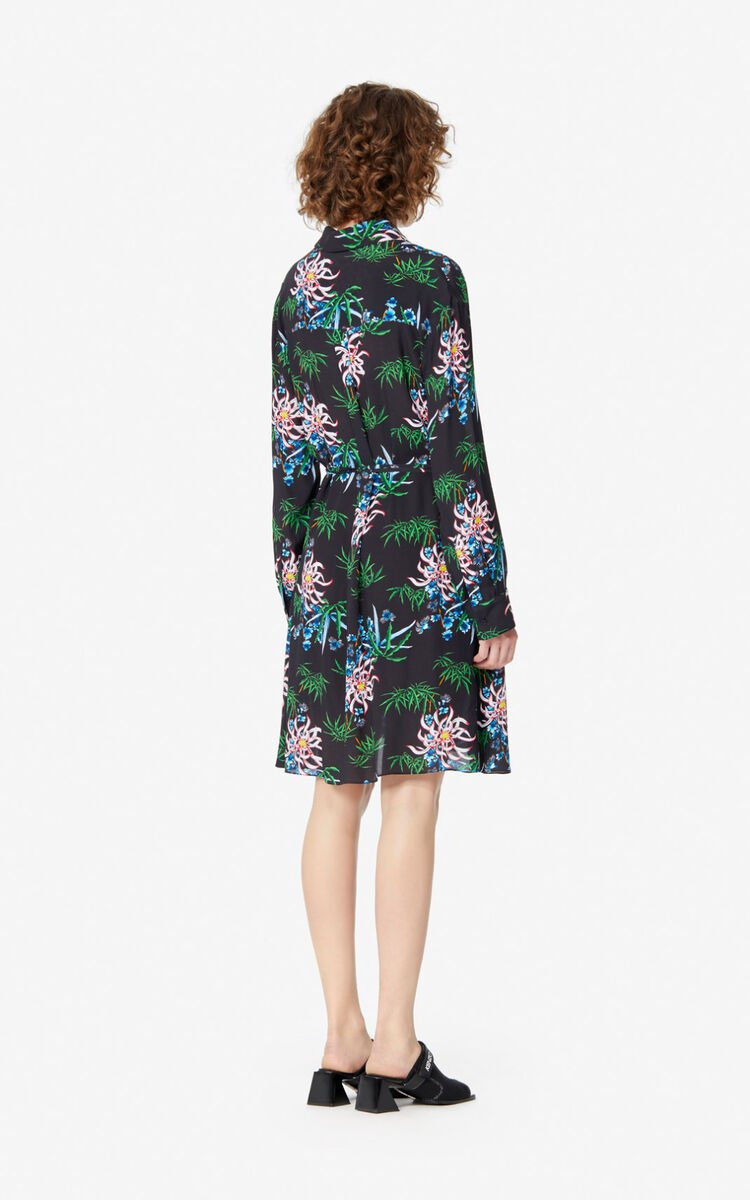 BLACK 'Sea Lily' shirt dress for women KENZO