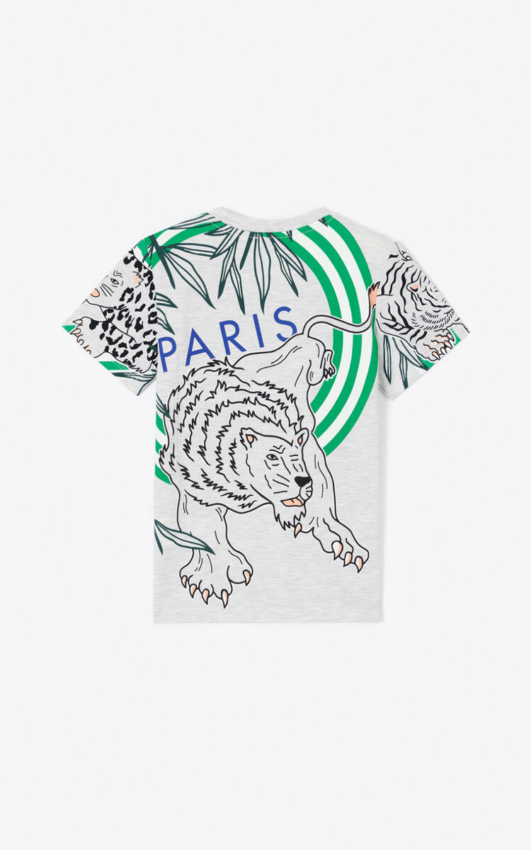 PALE GREY 'Disco Jungle' multi-icon T-shirt for men KENZO