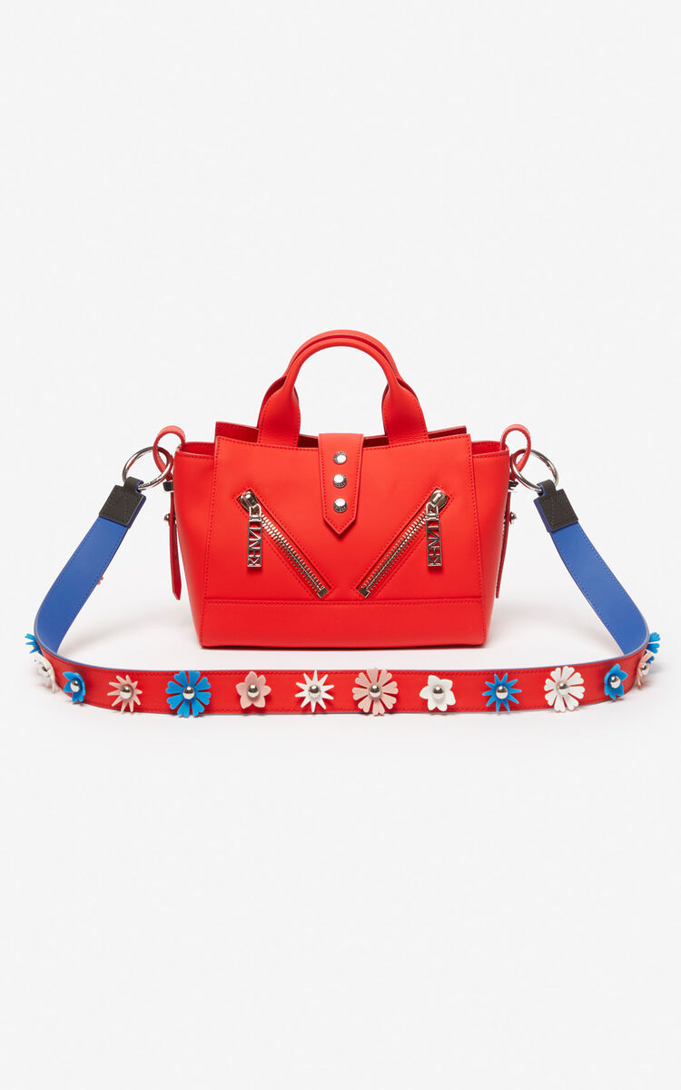 MEDIUM RED 'Flowers' leather shoulder strap for women KENZO