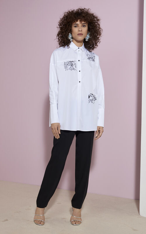 Antonio Sketches  Embroidered Shirt, WHITE, KENZO