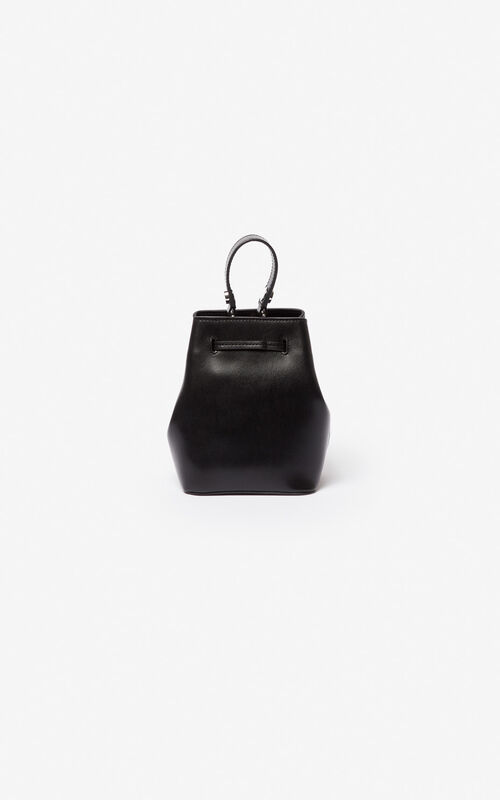 BLACK Eye leather bucket bag for women KENZO