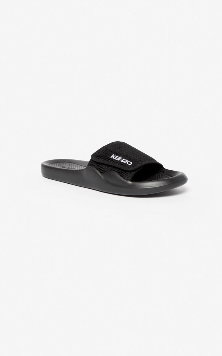 BLACK KENZO logo mules for men