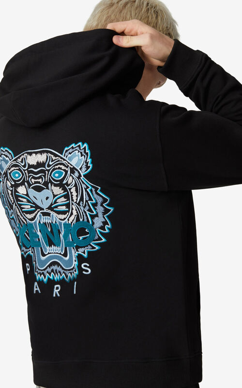 BLACK Tiger hooded zipped sweatshirt for men KENZO