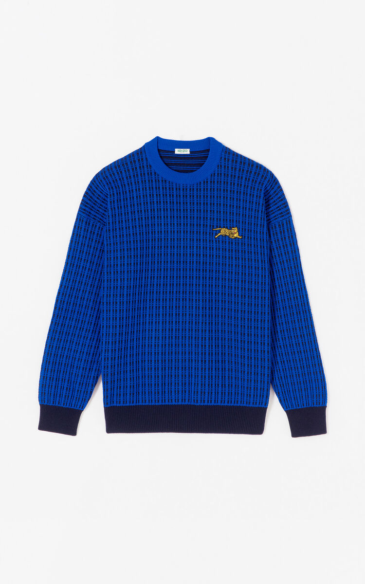 FRENCH BLUE 'Jumping Tiger' jumper for men KENZO