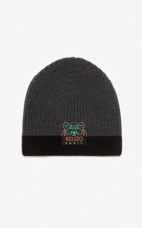 ANTHRACITE 'Holiday Capsule' Two-tone Tiger knit cap for unisex KENZO