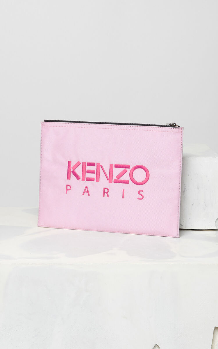 FLAMINGO PINK A4 Tiger Canvas clutch for men KENZO