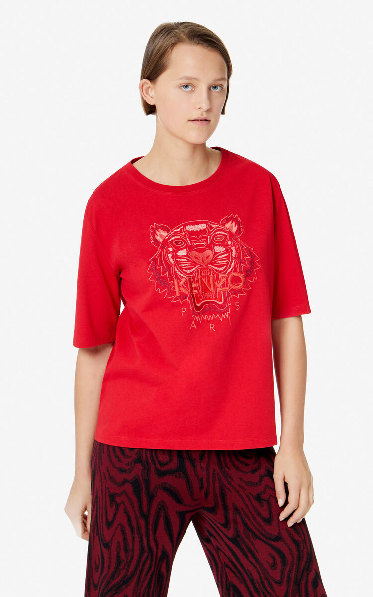 MEDIUM RED 'Monochrome Tiger' T-shirt for women KENZO