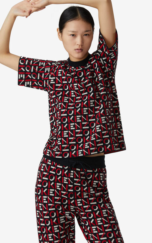 MEDIUM RED KENZO Sport jacquard monogram top for women