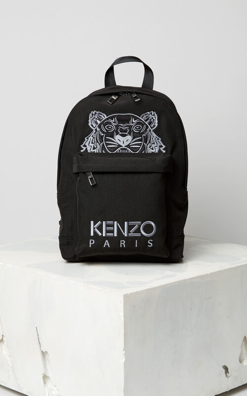 BLACK Medium Tiger Canvas backpack for women KENZO
