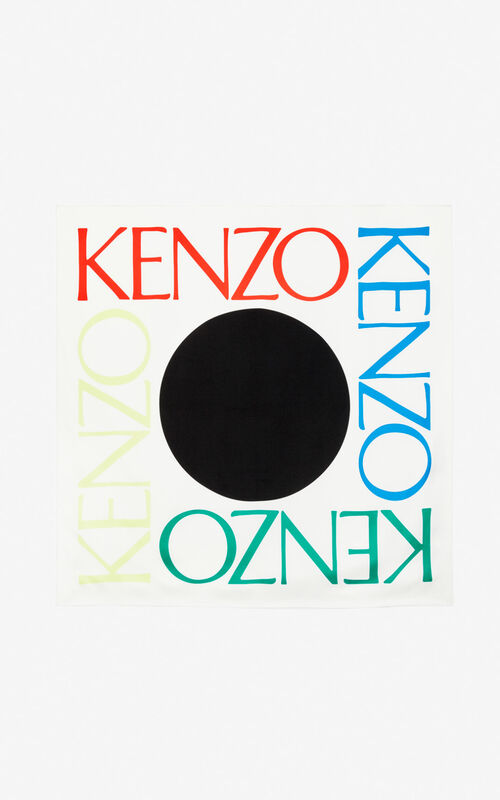 WHITE 'Square Logo' colorblock silk scarf for unisex KENZO