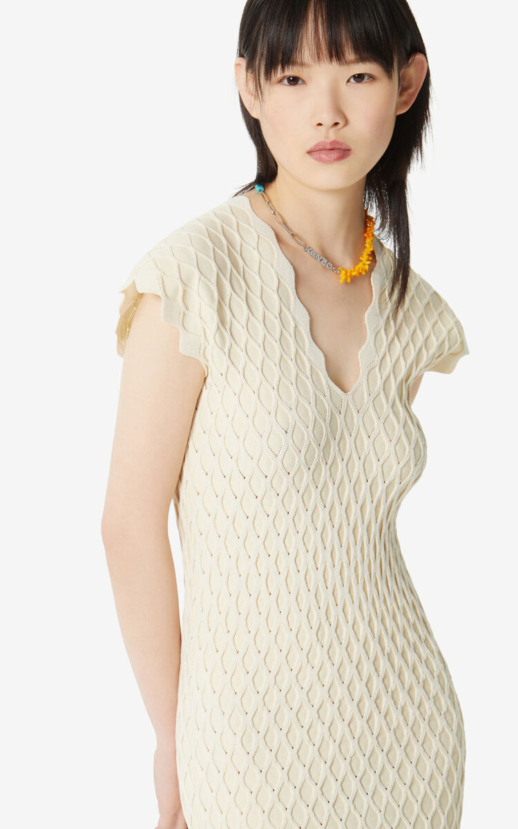 OFF WHITE 'High Summer Capsule Collection' textured midi dress for women KENZO