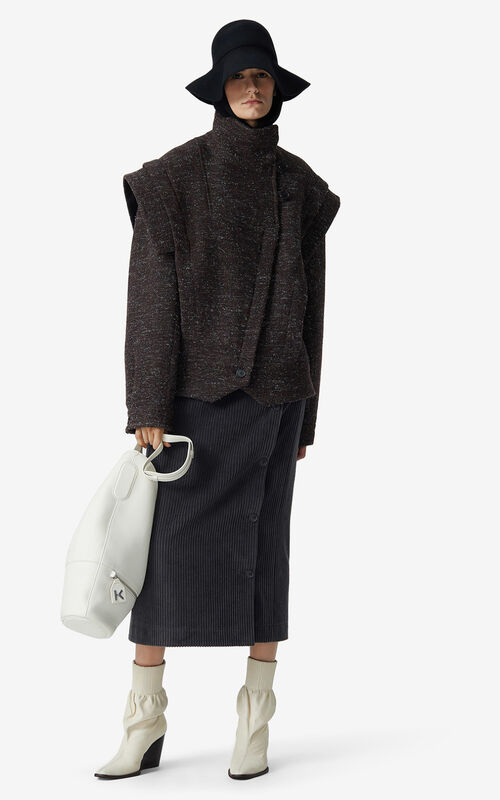 DARK BROWN Heathered wool jacket for women KENZO