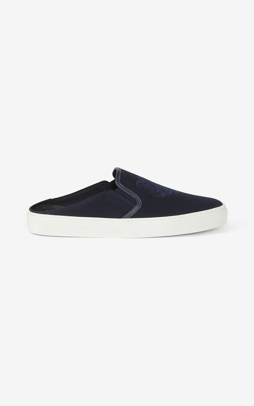 NAVY BLUE Canvas K-Skate Tiger mule sneakers for unisex KENZO