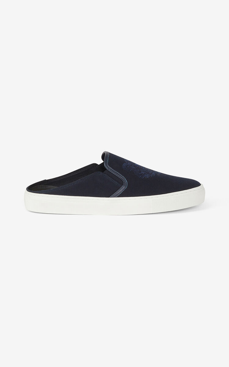 NAVY BLUE Canvas K-Skate Tiger mule trainers for unisex KENZO