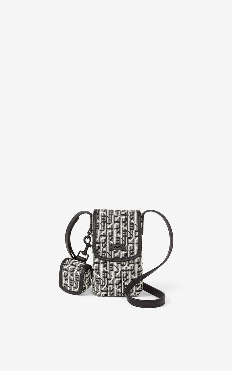 MISTY GREY Courier jacquard phone pouch with strap for women KENZO