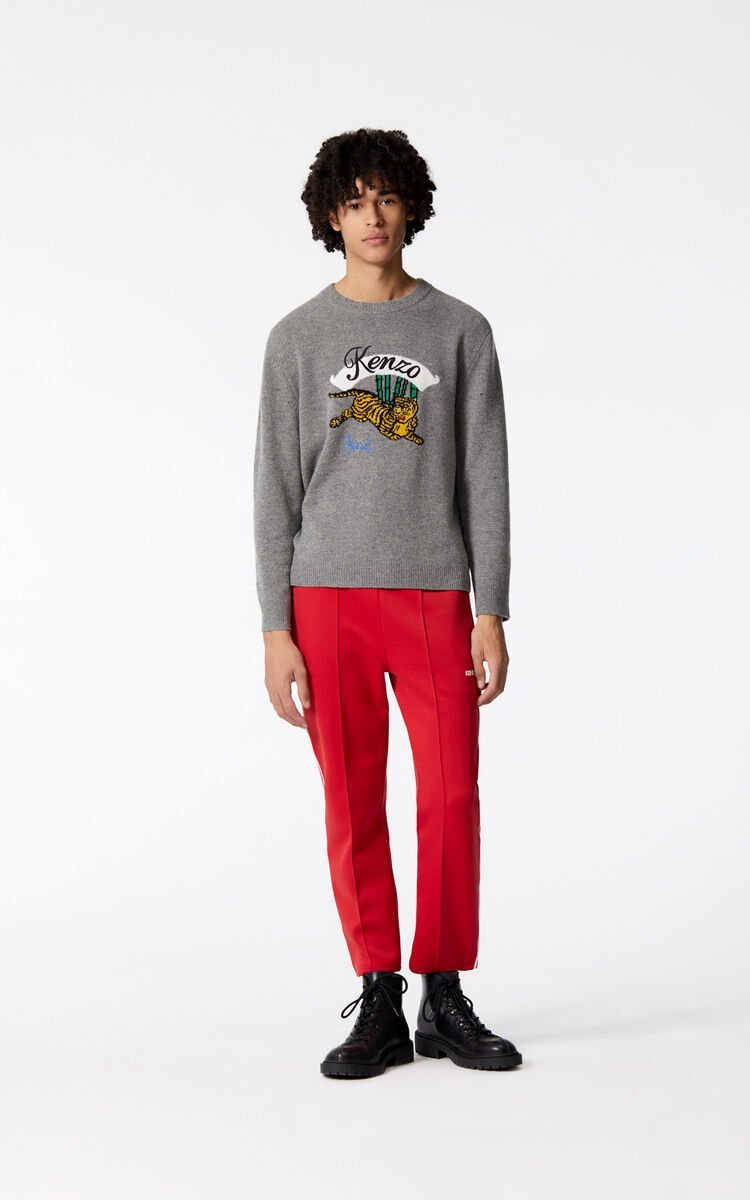 DOVE GREY 'Jumping Tiger' jumper for men KENZO