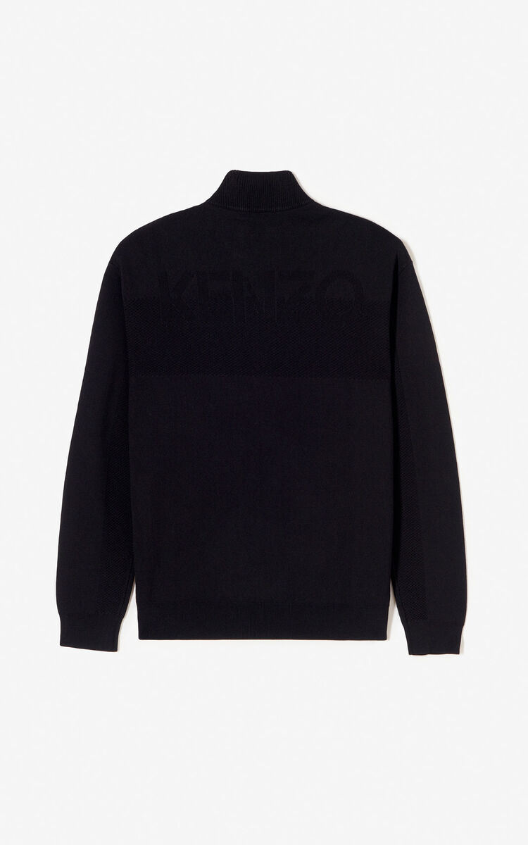 BLACK Knitted zipped cardigan for men KENZO