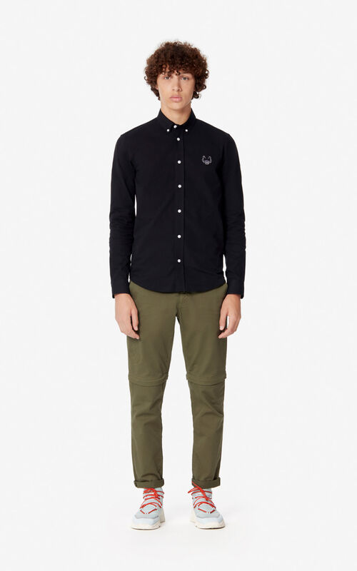BLACK Casual Tiger shirt  for men KENZO