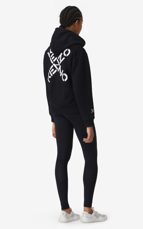BLACK KENZO Sport 'Big X' zipped sweatshirt for women